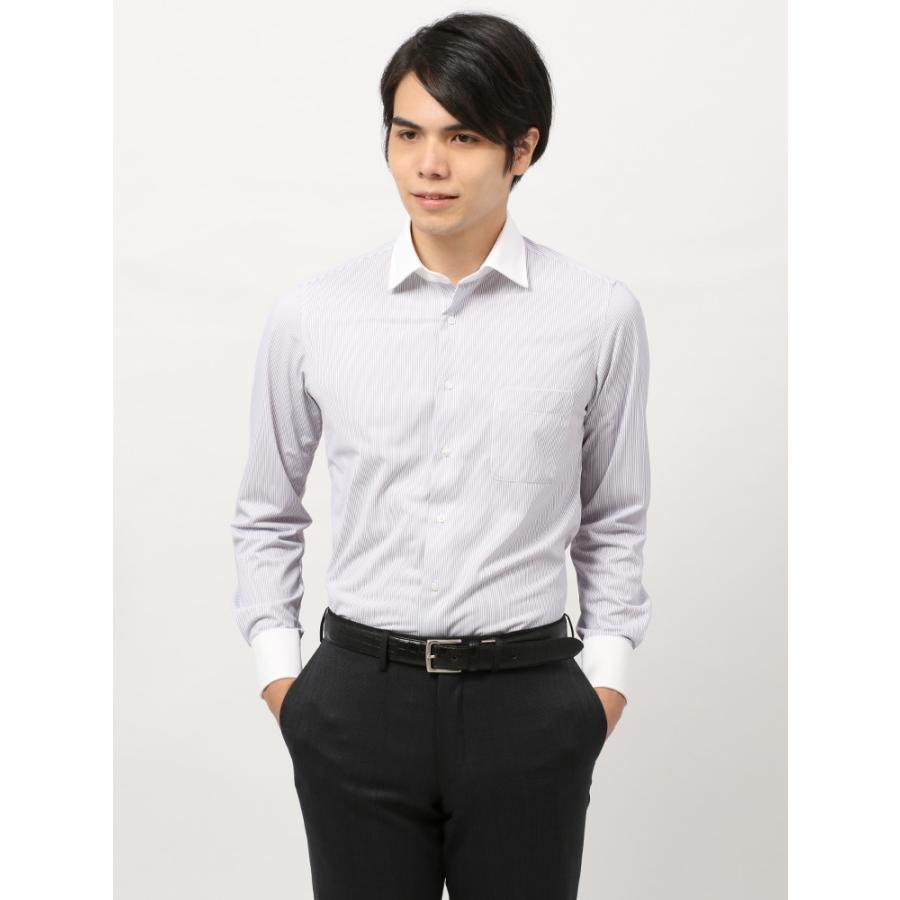 ドレスシャツ/長袖/メンズ/ノンアイロンジャージー素材/WE SUIT YOU/クレリック&ワイドカラードレスシャツ パープル×ホワイト
