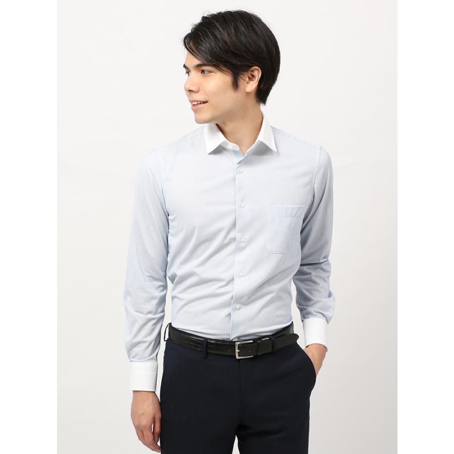 ドレスシャツ/長袖/メンズ/ノンアイロンジャージー素材/WE SUIT YOU/クレリック&ワイドカラードレスシャツ ネイビー×ホワイト