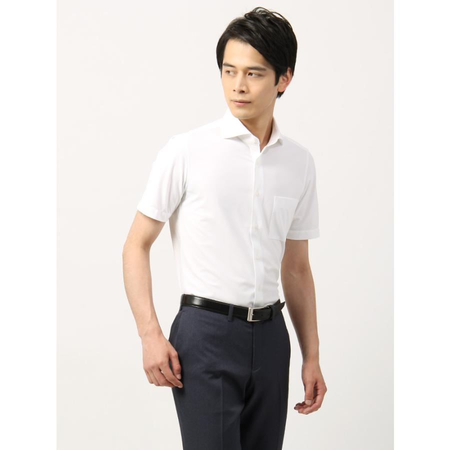 ドレスシャツ/半袖/メンズ/半袖・ノンアイロンジャージー素材/WE SUIT YOU/ホリゾンタルカラードレスシャツ ホワイト