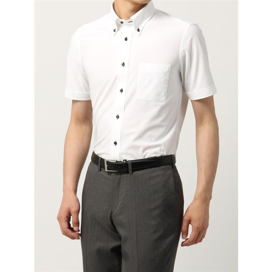 ドレスシャツ/半袖/メンズ/半袖・ノンアイロンジャージー素材/WE SUIT YOU/ボタンダウンカラードレスシャツ ホワイト