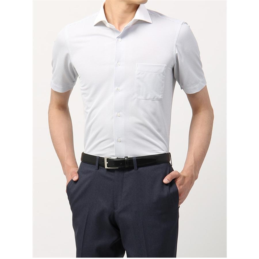 ドレスシャツ/半袖/メンズ/半袖・ノンアイロンジャージー/WE SUIT YOU/ホリゾンタルカラードレスシャツ ホワイト×ネイビー