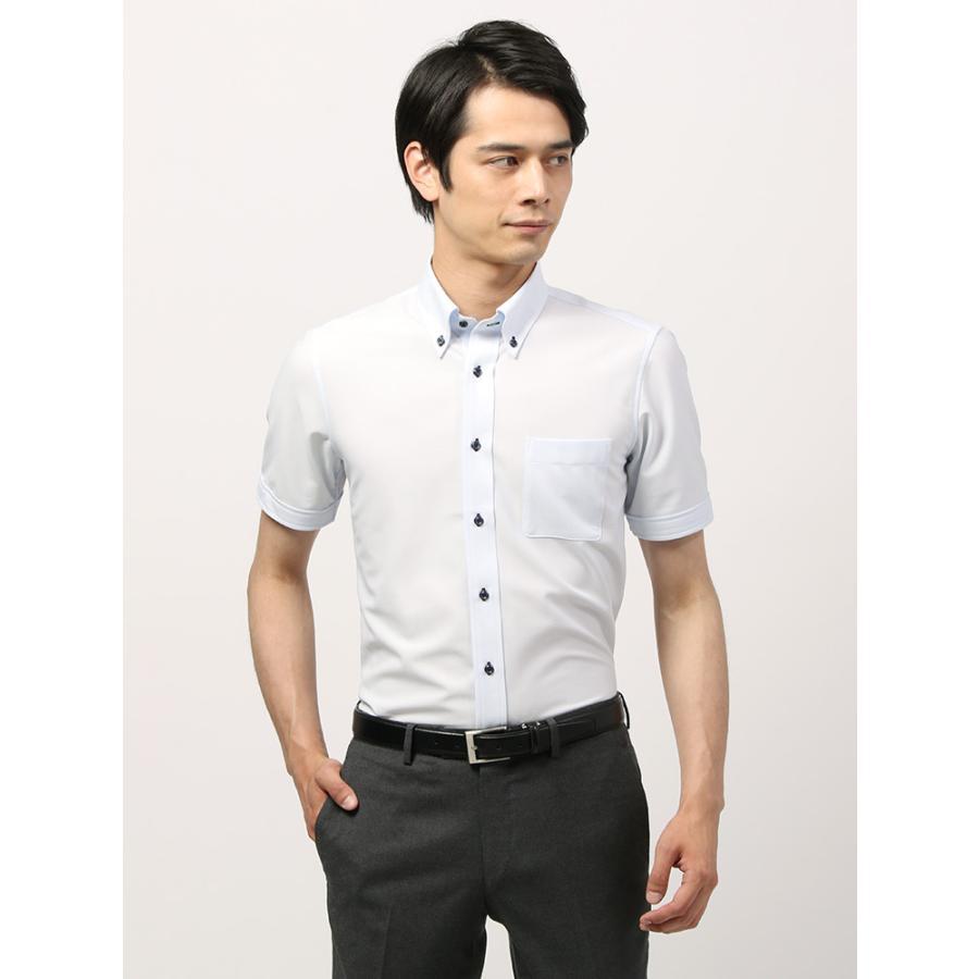 ドレスシャツ/半袖/メンズ/半袖・ノンアイロンジャージー素材/WE SUIT YOU/ボタンダウンカラードレスシャツ サックスブルー