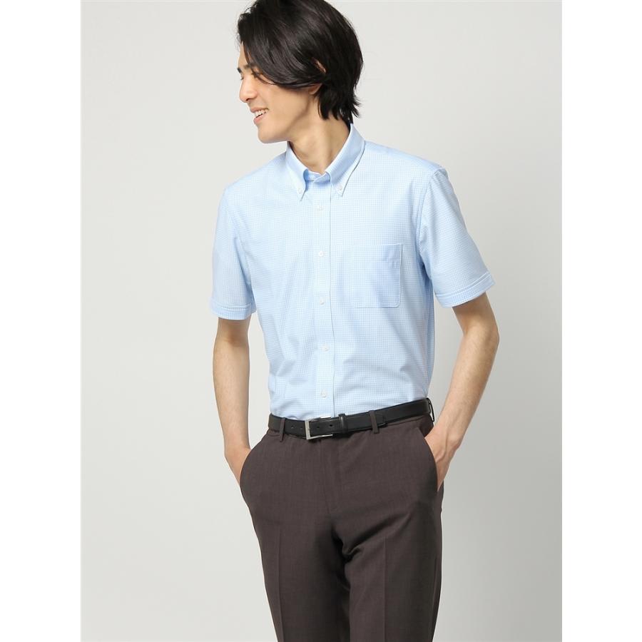 ドレスシャツ/半袖/メンズ/半袖・ノンアイロンジャージー素材/WE SUIT YOU/ボタンダウンカラードレスシャツ サックスブルー×ホワイト