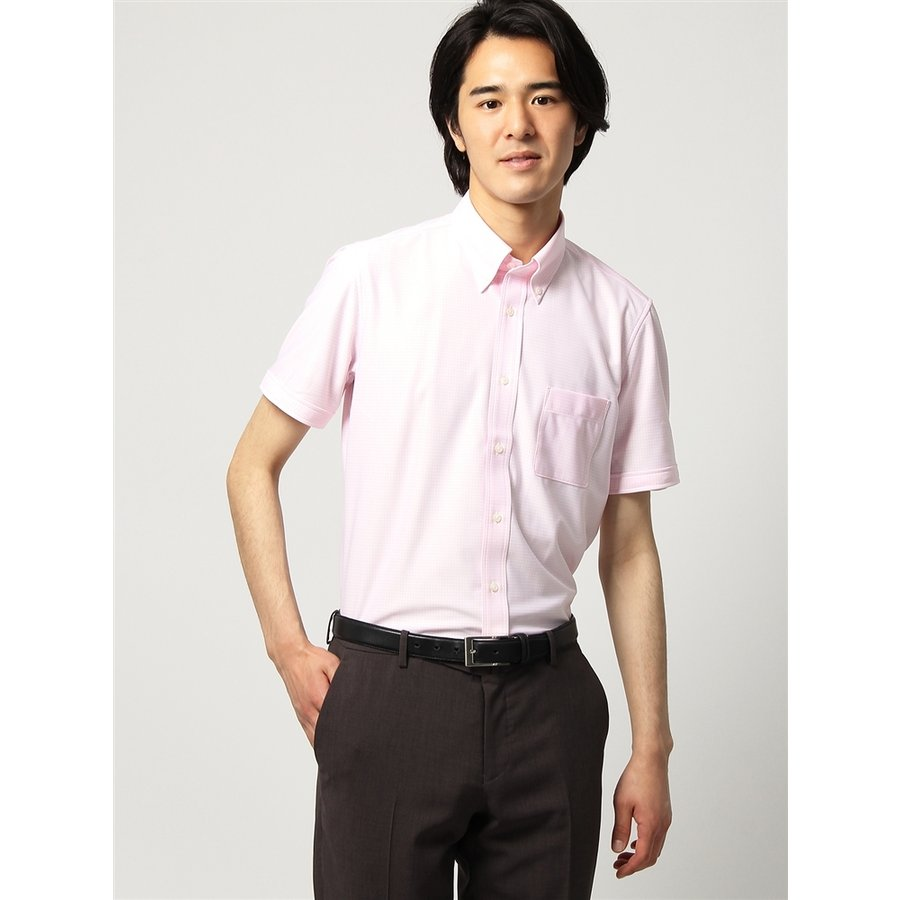 ドレスシャツ/半袖/メンズ/半袖・ノンアイロンジャージー素材/WE SUIT YOU/ボタンダウンカラードレスシャツ ピンク×ホワイト