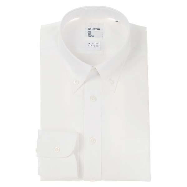ドレスシャツ/長袖/メンズ/NON IRON STRETCH/WE SUIT YOU/ボタンダウンカラードレスシャツ 無地 ホワイト