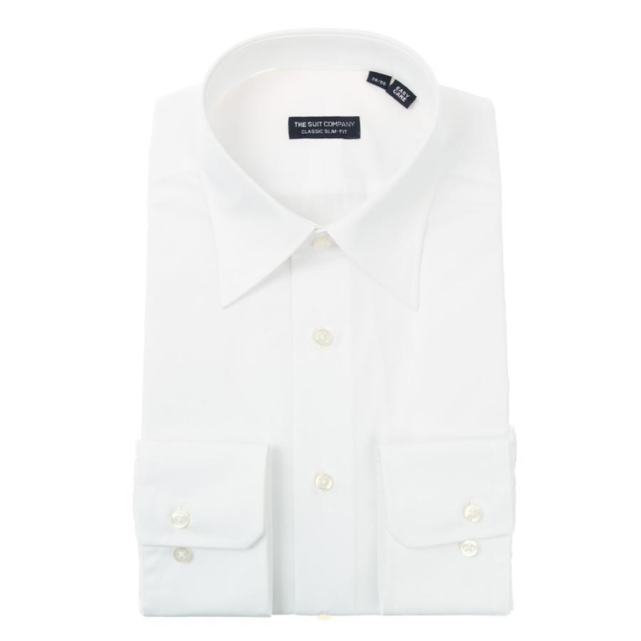 ドレスシャツ/長袖/メンズ/レギュラーカラードレスシャツ 無地 〔EC・CLASSIC SLIM-FIT〕 ホワイト
