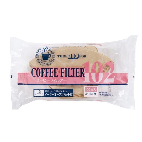 スリーフォー 耳付きコーヒーフィルター B-102 3〜5人用 100枚入|umakacoffee-store