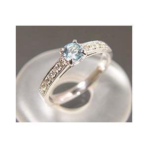 【高価値】 PT900 アクアマリン ダイヤモンドリング (サイズ3号〜20号) 3月誕生石 アクセサリー 指輪 ミル打ち, ミリタリーベース 9fb81cbb