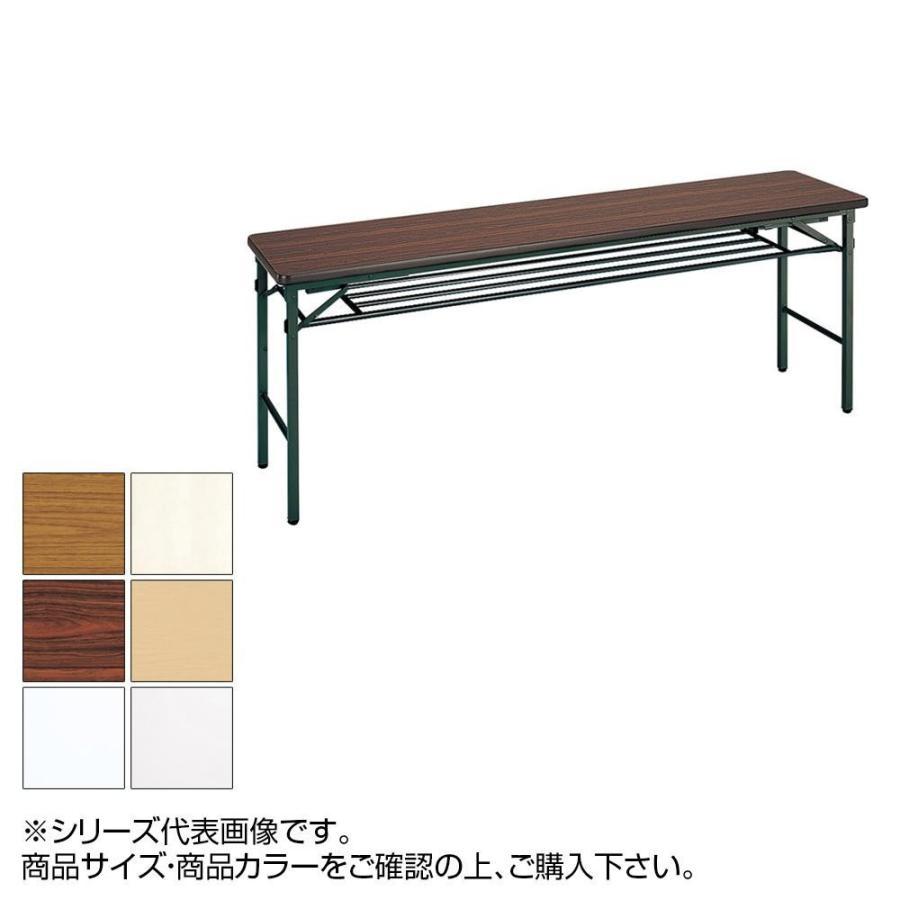 トーカイスクリーン 折り畳み会議テーブル クランク式 ソフトエッジ巻 棚付 YST-155 [メープル]