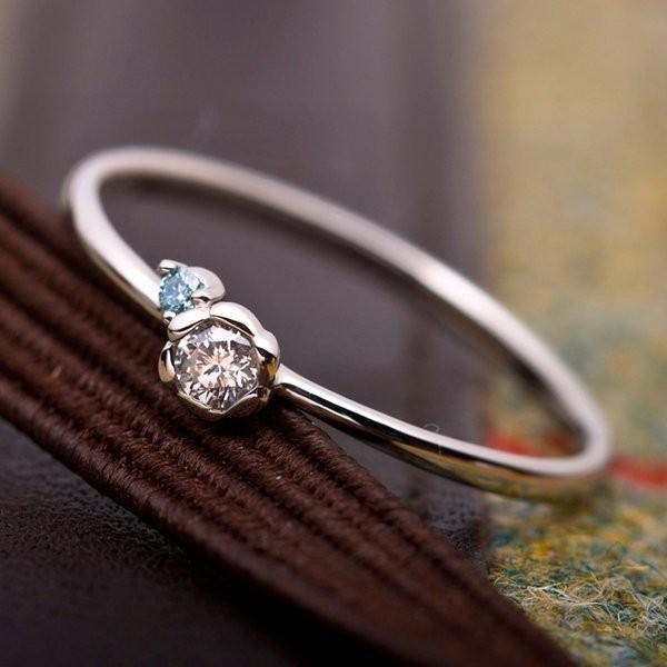 【中古】 ダイヤモンド リング ダイヤ0.05ct アイスブルーダイヤ0.01ct 合計0.06ct 13号 プラチナ Pt950 フラワーモチーフ 指輪 ダイヤリング 鑑別カード付き, インクマスターの一本堂 a31ccafd