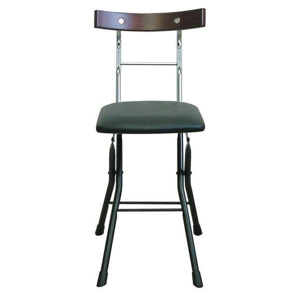 折りたたみ椅子 〔ブラック×ブラック+ダークブラウン〕 幅36cm 日本製 日本製 スチールパイプ 『ロイドチェア』〔代引不可〕