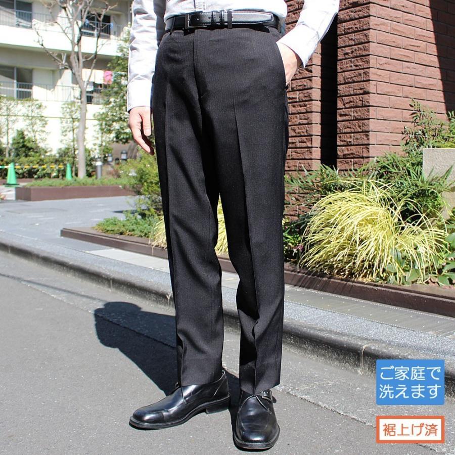 スラックス メンズ ビジネス ノータック ストライプ 裾上げ済み スリム 洗える united-japan 18