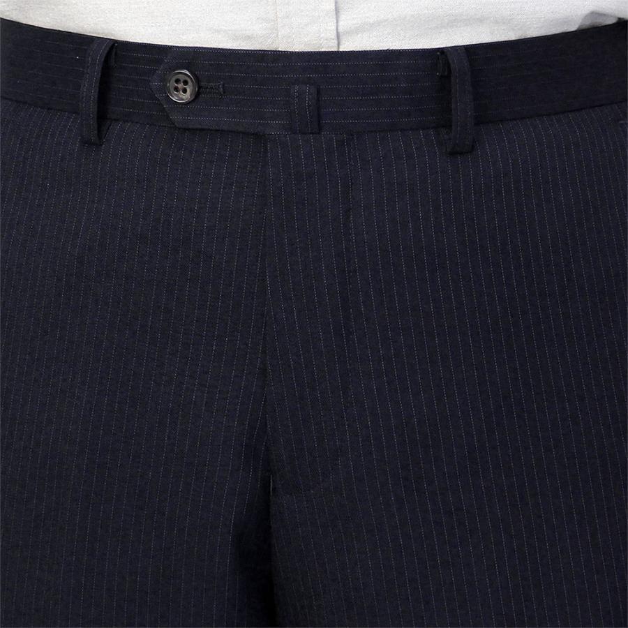 スラックス メンズ ビジネス ノータック ストライプ 裾上げ済み スリム 洗える united-japan 16