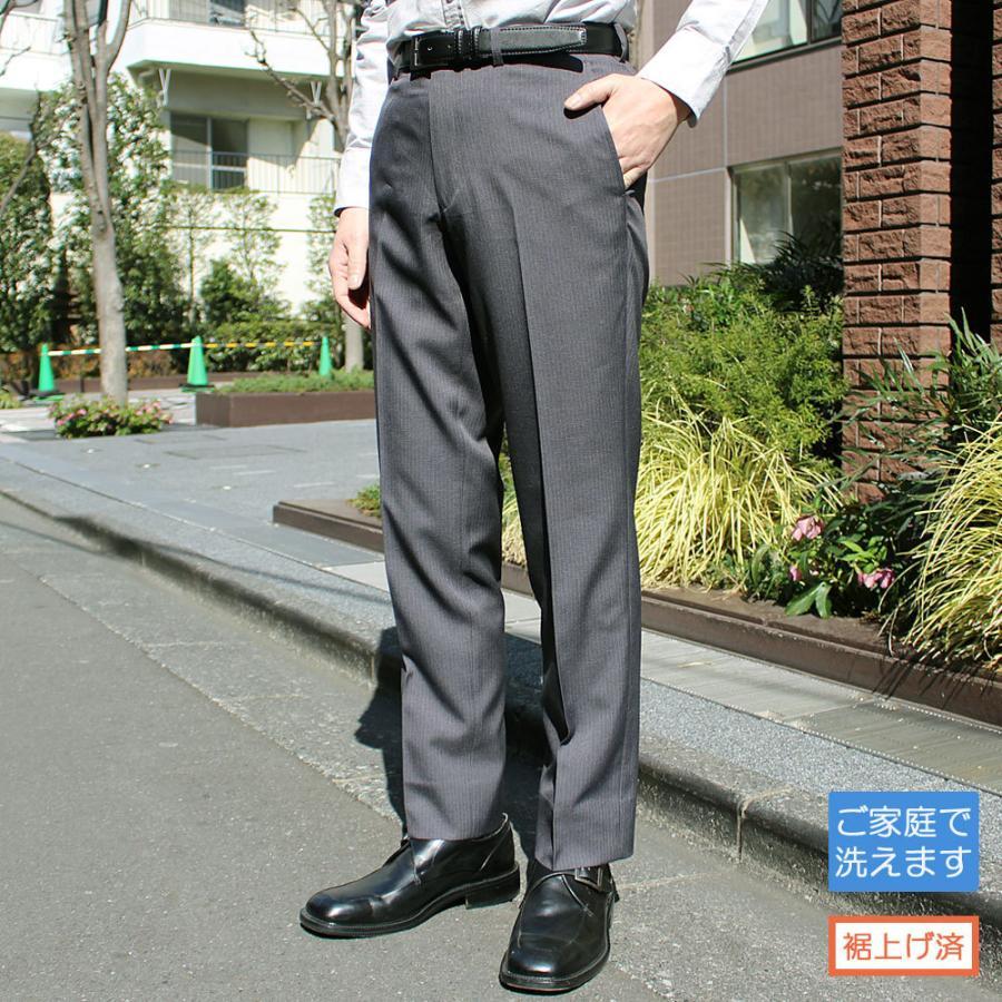 スラックス メンズ ビジネス ノータック ストライプ 裾上げ済み スリム 洗える united-japan 28