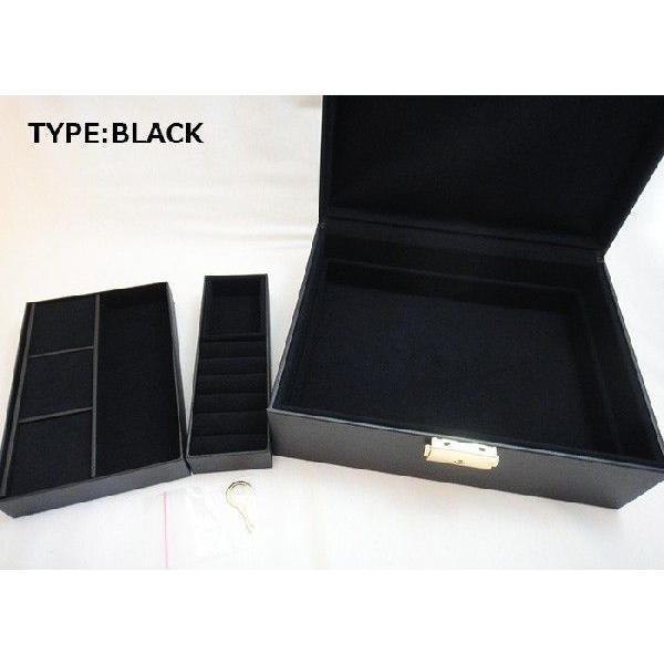 【即納】収納力抜群のジュエリーボックス 中型タイプの鍵付き宝石箱(ブラウン・ブラック)|united-jewellery|05