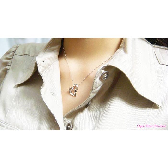 【即納】オールシルバー製立体型オープンハートペンダント メール便可 united-jewellery 05