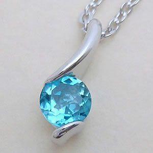 大粒の蒼い輝き5mmのブルートパーズパワーストーンペンダント メール便可 united-jewellery
