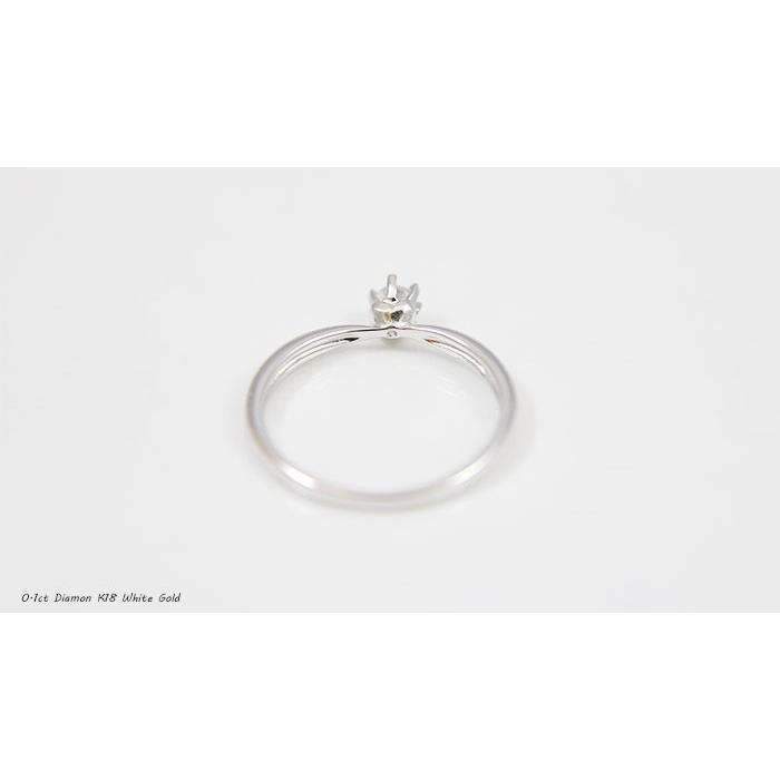 6つ爪ティファニーセッティングデザインのK18製ホワイトゴールド製0.1ct天然ダイヤリング 送料無料|united-jewellery|04