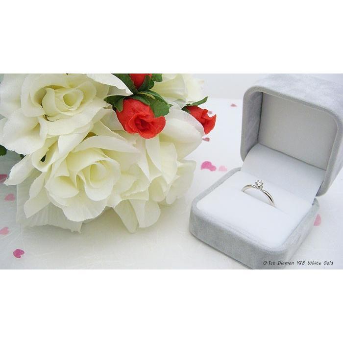 6つ爪ティファニーセッティングデザインのK18製ホワイトゴールド製0.1ct天然ダイヤリング 送料無料|united-jewellery|05