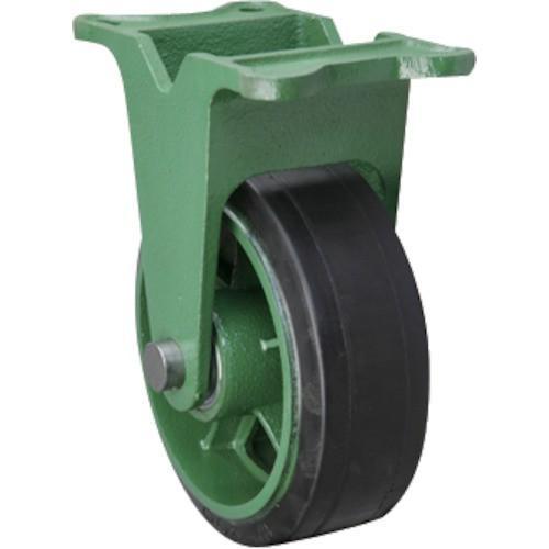 (鋳物製キャスター)東北車輛製造所 幅広型固定金具付ゴム車輪 150X75TKB