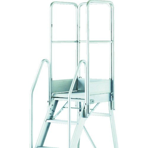 (踏台)TRUSCO 折りたたみ式作業用踏み台 高さ2.10m 高さ1100手すりフルセット付き TDAD-210-1100TF