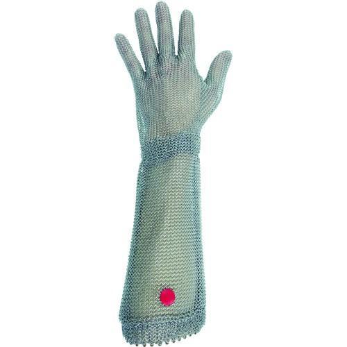 (耐切創手袋)ミドリ安全 ステンレス製 耐切創クサリ手袋 5本指 ロングタイプ WILCO−550 Mサイズ 1枚 WILCO-550-M