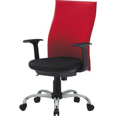 直送品 代引不可 (オフィスチェア (オフィスチェア 椅子)トラスコ ハイバックオフィスチェアー 肘付 レッド TOFC330A