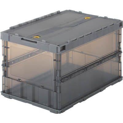 折りたたみコンテナボックス 収納 おしゃれ トラスコ 薄型折りたたみコンテナスケル 中古 ブラック 50Lロックフタ付 TSK-C50B 無料
