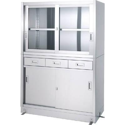 直送品 代引き不可 (保管庫)シンコー ステンレス保管庫引出付上部ガラス戸下部ステンレス戸ベース仕様 VDG-15060