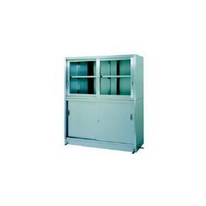 直送品 代引き不可 (保管庫)シンコー ステンレス保管庫上部ガラス戸下部ステンレス戸ベース仕様 VG-9060
