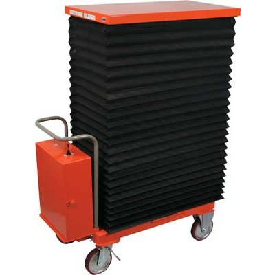 直送品 代引不可 (移動式リフター)トラスコ ハンドリフター 800kg 600X1050 電動昇降式 蛇腹付 HLAN-800MJ