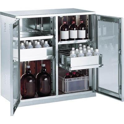 直送品 代引き不可 送料無料 (保管庫)TRUSCO 耐震薬品庫 ガラス両開型 棚スライド式 900X500XH900 SW