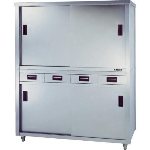 (保管庫)アズマ 上下二段式ステンレス保管庫 片面引出付1500×450×1800 ACSO-1500K