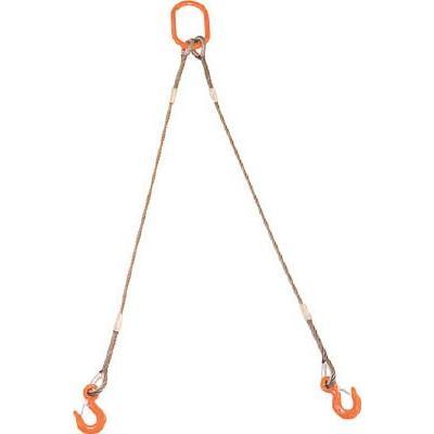 (ワイヤロープスリング)TRUSCO 2本吊りWスリング フック付き 12mmX1m GRE-2P-12S1