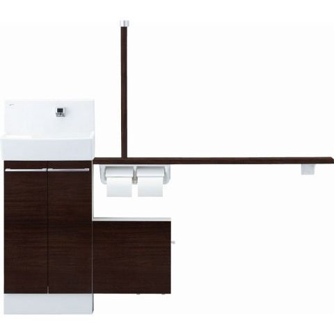INAX·LIXIL コフレル YL-DA83SSHL15E-N トイレ手洗 左仕様 ワイド(壁付) ハンドル水栓 手すりカウンター カラクリキャビネットタイプ YLDA83SSHL15EN