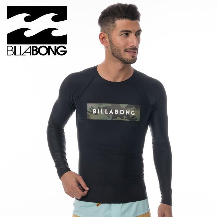 ビラボン ラッシュガード 長袖 メンズ水着 速乾性 伸縮性 BILLABONG ラッシュ 水着 黒 ブラック カモフラ