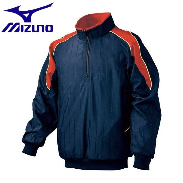 ◆◆ <ミズノ> MIZUNO ハーフZIPジャケット/長袖(2013世界モデル)[ユニセックス] 52WW389 (14:ネイビー×レッド)