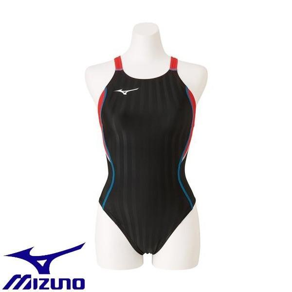 ◆◆送料無料 メール便発送 <ミズノ> MIZUNO 競泳用ミディアムカット[レディース] N2MA9224 (96:ブラック×ブライトレッド) フィットネス