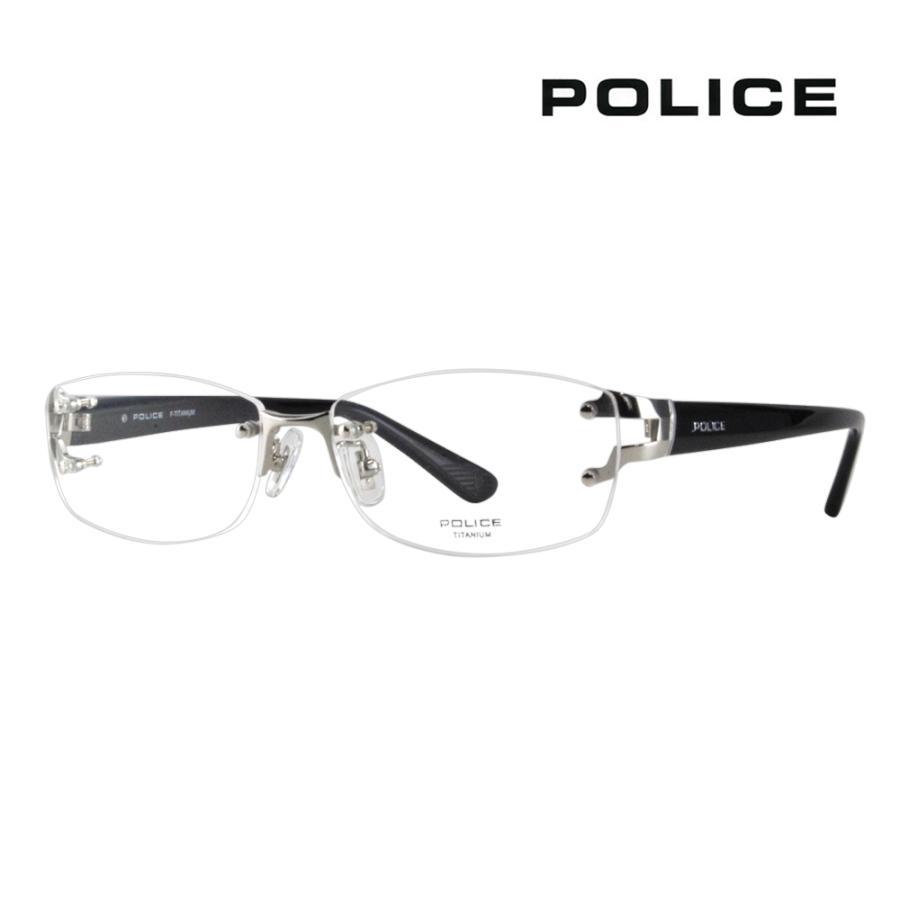 ポリス メガネフレーム POLICE VPLC99J 0579 56 スクエア セール 眼鏡 伊達メガネ メタル ツーポイント リムレス 新作販売 チタン