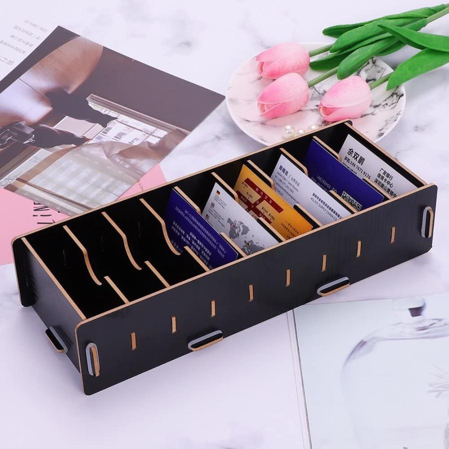名刺ケース カードケース 8仕切り 木製 卓上収納ラック ロング型 名刺ホルダー めいし 整理箱 オフィス デスクオーガ|urarakastr|02