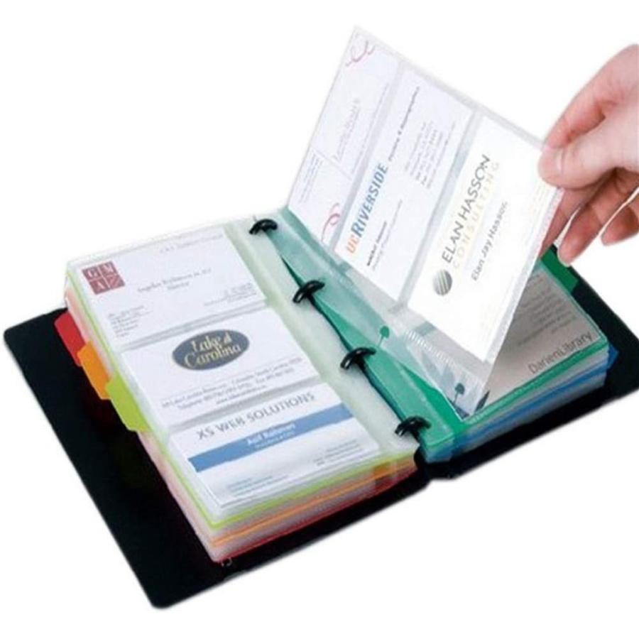 Achy JP 名刺ホルダー ビジネス 名刺帳 カラフルな分類紙を含む名刺帳 (180名収容 黒)|urarakastr|04