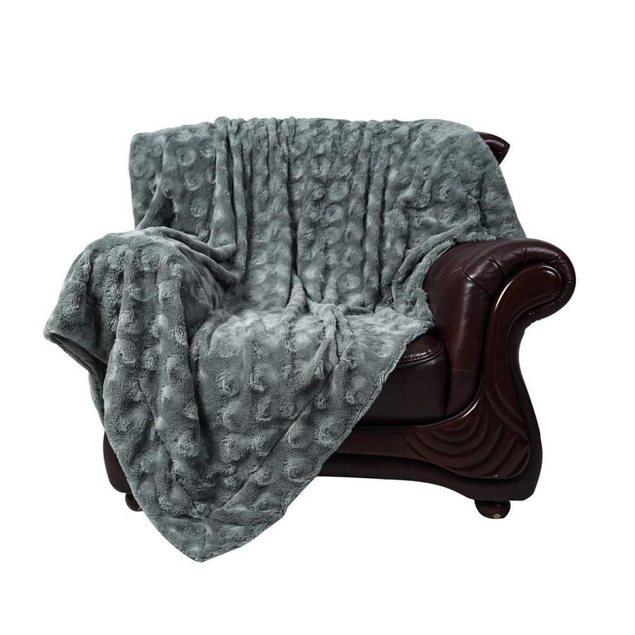 送料無料 毛布 ダブル フェイクファーブランケット エアコン対策 ひざ掛け ふわふわ 柔らかい 肌触りにやさしい マイクロファイバー 130cmx150cm グレー|urazaki2