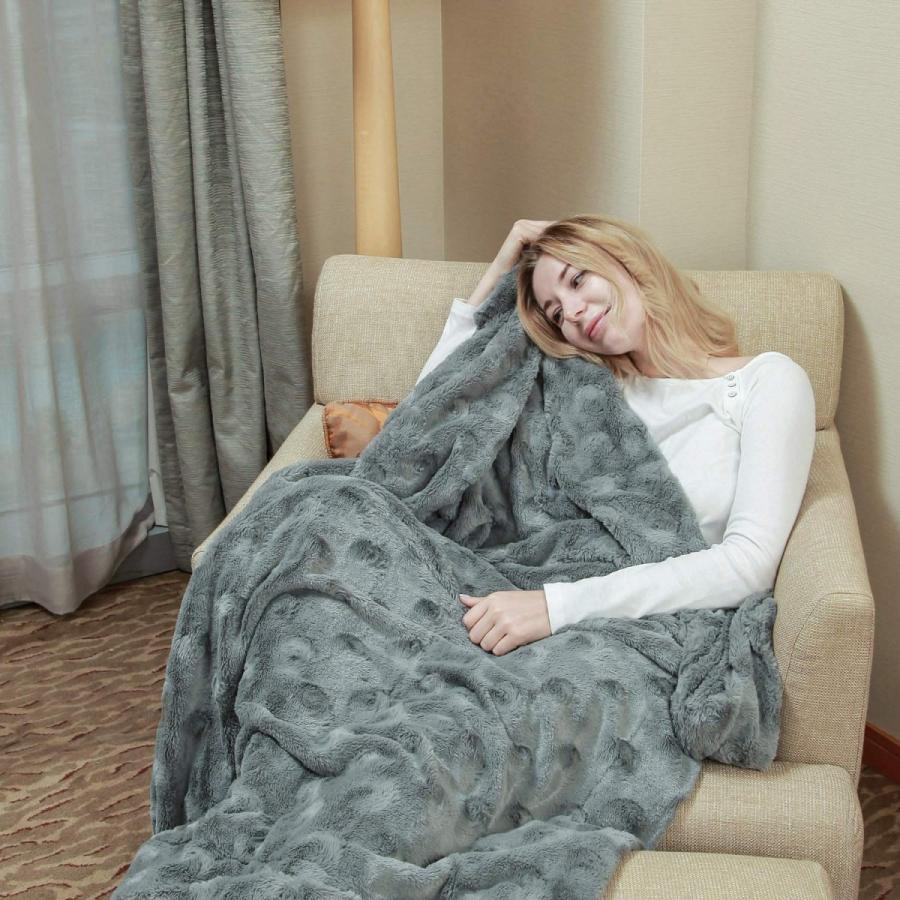 送料無料 毛布 ダブル フェイクファーブランケット エアコン対策 ひざ掛け ふわふわ 柔らかい 肌触りにやさしい マイクロファイバー 130cmx150cm グレー|urazaki2|04