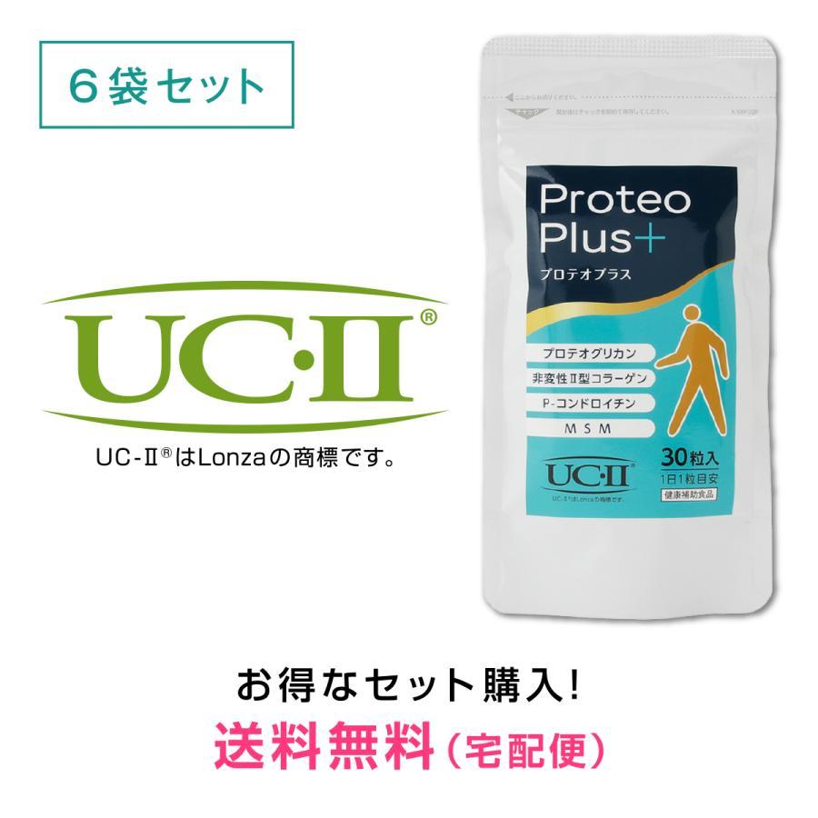 プロテオプラス30粒入り 6袋セット プロテオグリカン 日本正規品 非変性 2型コラーゲン UC-II 2020 コンドロイチン MSM サプリ サプリメント 国産