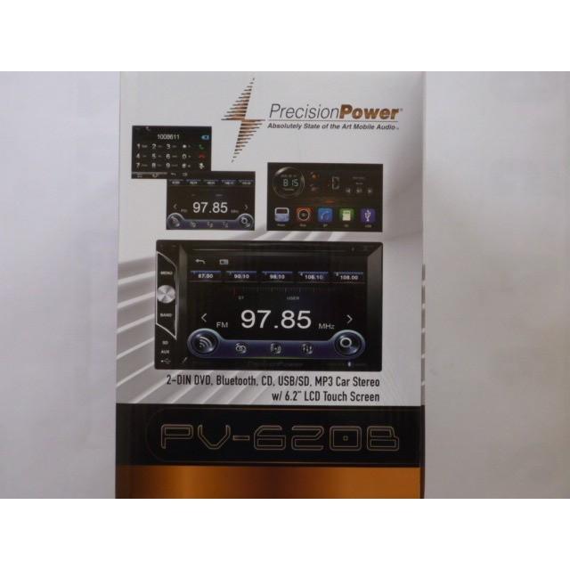 Bluetooth PrecisionPower PV-620B 2-DIN DVD CD MP3 Car Stereo w//6.2 LCD Touch Screen USB//SD