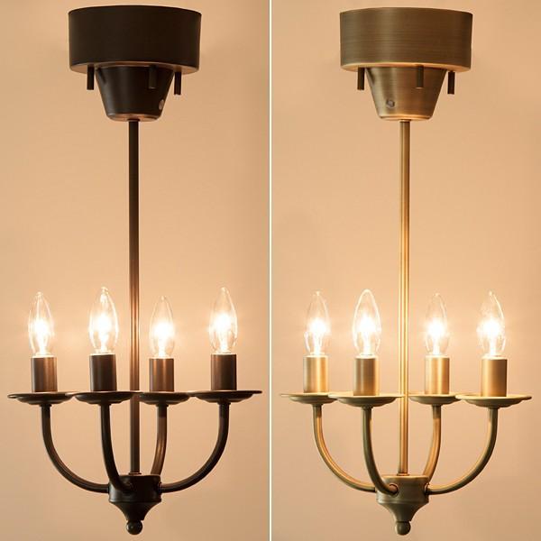 シャンデリア ライト 電気 4灯 シンプル リモコン付き 照明 アンティーク おしゃれ レトロ スチール