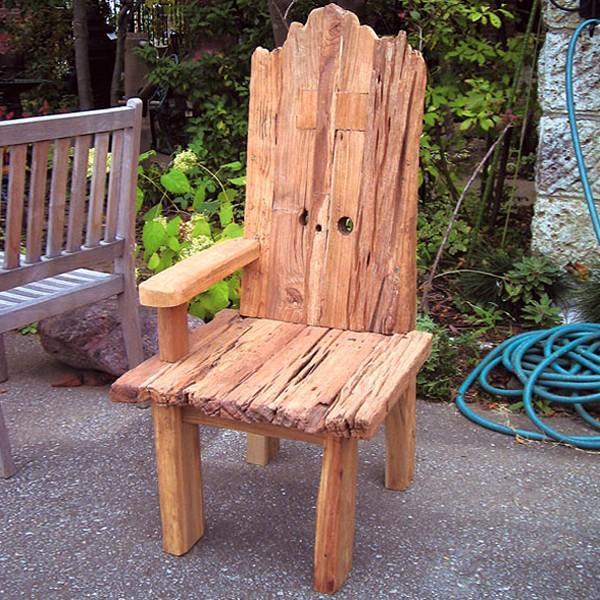 ガーデンチェア 椅子 流木チェア 肘掛け 屋外 木製 天然木 ガーデンチェアー いす ナチュラル 自然 流木