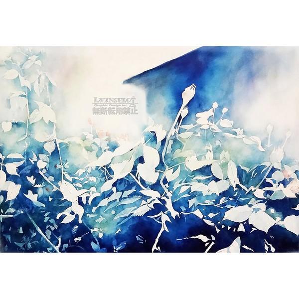 アートポスター おしゃれ 花 植物 青 ブルー インテリア インテリア 吸着シート はがせる マンション 賃貸