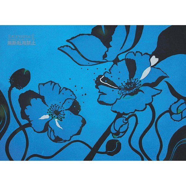 アートポスター おしゃれ 花 青 ブルー アート アート イラスト インテリア 吸着シート はがせる マンション 賃貸