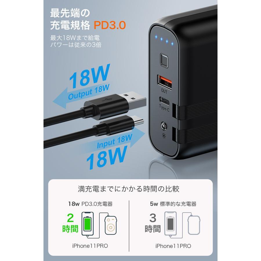 モバイルバッテリー コンセント ACアダプター 9600mAh PD対応18W&ケーブル内蔵&菱/丸PSE認証済 USB-C 急速充電器 折りたたみ式プラグ 防災|usamdirect|04